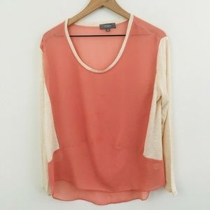 Umgee 3/4 Sleeve Lightweight Colorblock Top Small